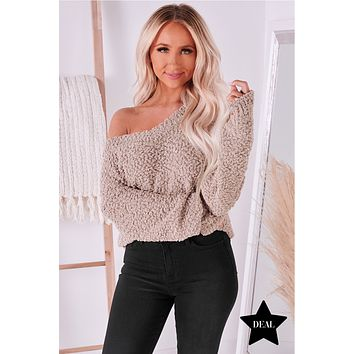 From Time To Time V-Neck Popcorn Sweater (Ash Mocha)