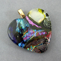 Colorful Dichroic Heart Pendant Fused Glass by mysassyglass