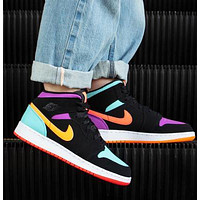 AJ1 Air Jordan 1 black mandarin duck color hook black purple yelle blue