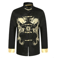 Men's Black Traditional Chinese Silk Satin Vintage Kung Fu Jacket Embroidery Dragon Overcoat