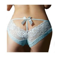 Sexy Lace Briefs Panties Underwear - Blue