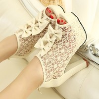 Sexy elegant lace bowknot hollow high-heeled shoes sandals