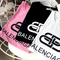 Balenciaga Tide brand double B lock letter logo loose short-sleeved T-shirt