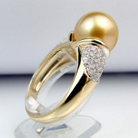 11mm South Sea Pearl .55CT Diamonds Engagement Ring in 14K Yellow Gold