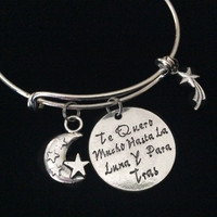 Spanish Bracelet Translates to I Love You to the Moon and Back with Shooting Star Stamped Word Quote on Expandable Adjustable Wire Bangle Bracelet Gift