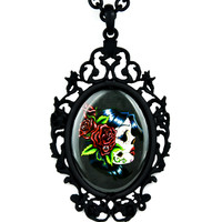 Red Rose Day of the Dead Girl Gothic Necklace Dia De Los Muertos