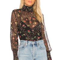 Bailey 44 Misha Floral Printed Blouse in Black Multi