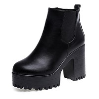 Women's Leather Platform High Ankle Boots