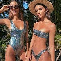 2018 New Off Shoulder Leather Sequins New Bikini Sets Black Vintage Low Waist Swimwear Snakeskin Style Sexy Novelty Swimsuit