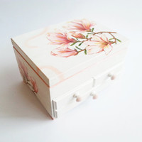 Made on order personalized jewelry box with mirror and drawers gift idea shabby chic beautiful pink gift idea for her spring flower