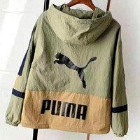 PUMA autumn new loose casual hooded stitching jacket