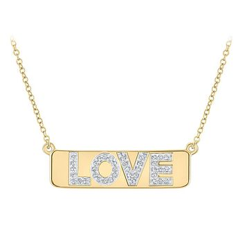 "10k Yellow Gold Round Diamond Love Bar Pendant Necklace with 18"""" Chain 1/8 Cttw"