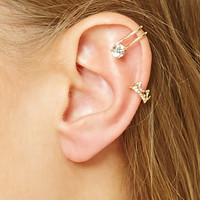 Crown and Heart Ear Cuff Set