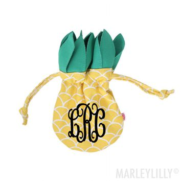 Monogrammed Pineapple Jewelry Pouch | Marleylilly