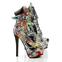Jaylo04A By Bella Luna, Magazine Strip Platform Stiletto Ankle Bootie