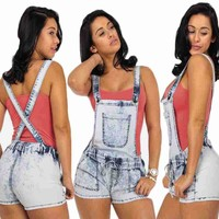 Sexy Womens Fashion Summer Button Pocket High Waist Short Jeans Casual Denim Hot Shorts Overalls