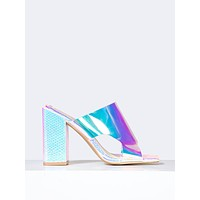 Holographic Slip On Mule