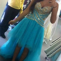 Stunning Aqua Blue Spaghetti Straps Sweetheart Neckline High Low Tulle Prom Dress With Beaded Bodice