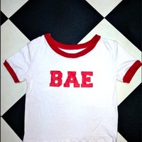 SWEET LORD O'MIGHTY! BAE RINGER TEE IN WHITE