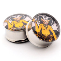 Tarot Card Devil Picture Plugs gauges  00g by mysticmetalsorganics