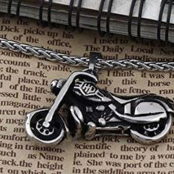 Stainless Steel Motorcycle Pendant and Necklace Set
