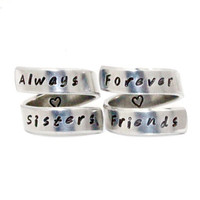 Always Sisters Forever Friends Ring Set, Sisters Best Friends Rings, Personalized Hand Stamped BFF Gift, Besties Jewelry Aluminum Wrap Rings