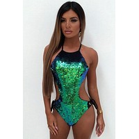 Gradient Sequin Halter Monokini One Piece Swimsuit