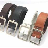 2014 New Version High Quality Fashion Women Belt PU Leather Button Metal Buckle 4 Colors Gentalman's