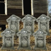 "Fake Tombstones - Halloween Yard Decoration - Set/6, 21.3"" x 14.8"""