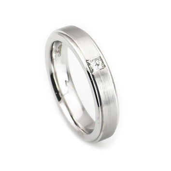 Diamond(.12ct, H/SI) accent Solitaire Wedding band 5mm