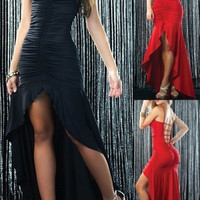 Sexy Lucy Black Pucker Front Flared Long Gown Clubwear Prom Cocktail Dress = 1916811972