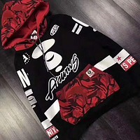 AAPE Fashion Print Hooded Pullover Tops Sweater Sweatshirts G-G-JGYF