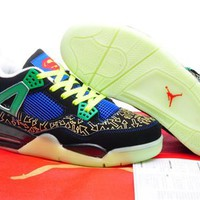 Cheap Nike Air Jordans 4 Men Shoes Glow In The Dark Black Green Blue