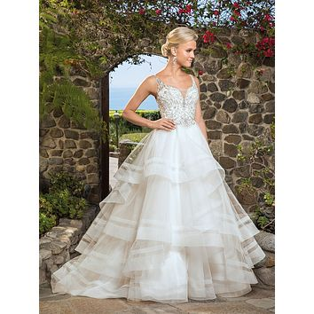 Casablanca 2368 Whitney Beaded Bodice Layered Tulle Ball Gown Wedding Dress