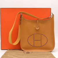 Authentic Hermes Evelyne PM Vache Leather Shoulder Crossbody Natural H Silver