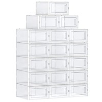 SONGMICS Shoe Boxes, Set of 18 Shoe Storage Organizers, Stackable and Foldable for Sneakers, Fit up to US Size 8.5, Transparent and White ULSP18SWT Transparant White