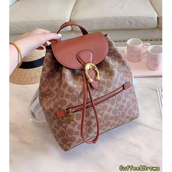 COACH High Quality Popular Women Casual Daypack School Bag Leather Backpack Coffee&Brown