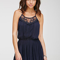 Embroidered-Mesh Drop-Waist Cami Dress