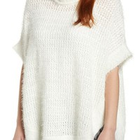 Caslon® Eyelash Knit Poncho Sweater (Regular & Petite) | Nordstrom
