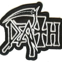 Death Iron-On Patch White Letters Logo