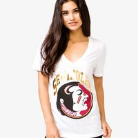 FOREVER 21 Florida State University Seminoles Tee White/Gold Small