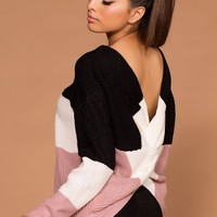Whirlwind Twist-Back Knit Sweater - Blush