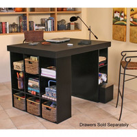 "Project Center Version 2 (top plus 1 bookcase and 1 3-Bin Cabinet)  (Black) (38.5""H x 55""W x 41""D)"