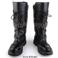 Mens Black Leather Motorcycle Boots Heavy Metal Rivet Combat Boots Punk Rock Martin Bo