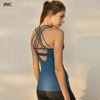 JNC Backless yoga top shirts navy strappy back workout gym top padded fitness sports vest active gym tank top sweatshirts