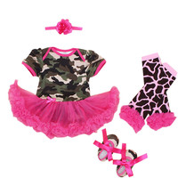 4PCs per Set Baby Girls Hot Pink Military Style Tutu Dress Headband Shoes Leggings for 0-12months Free Shipping