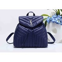 YSL Women Leather Bookbag Shoulder Bag Handbag Backpack Dark blue G-XS-PJ-BB
