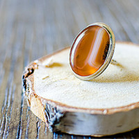 Stunning, Orange and White Agate Cabochon Ring, with .925 Sterling Silver, Handmade Ring, Gemstone Bezel Ring, Statement Ring, Size 5.75
