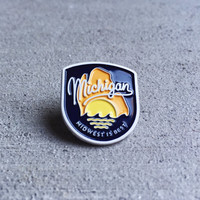 Michigan Enamel Pin - Midwest is Best - Great Lakes - Mitten State