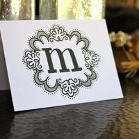 The Ideal Initial - Monogrammed, Hand-drawn Stationery that sends a Happy Hello (set of 5)